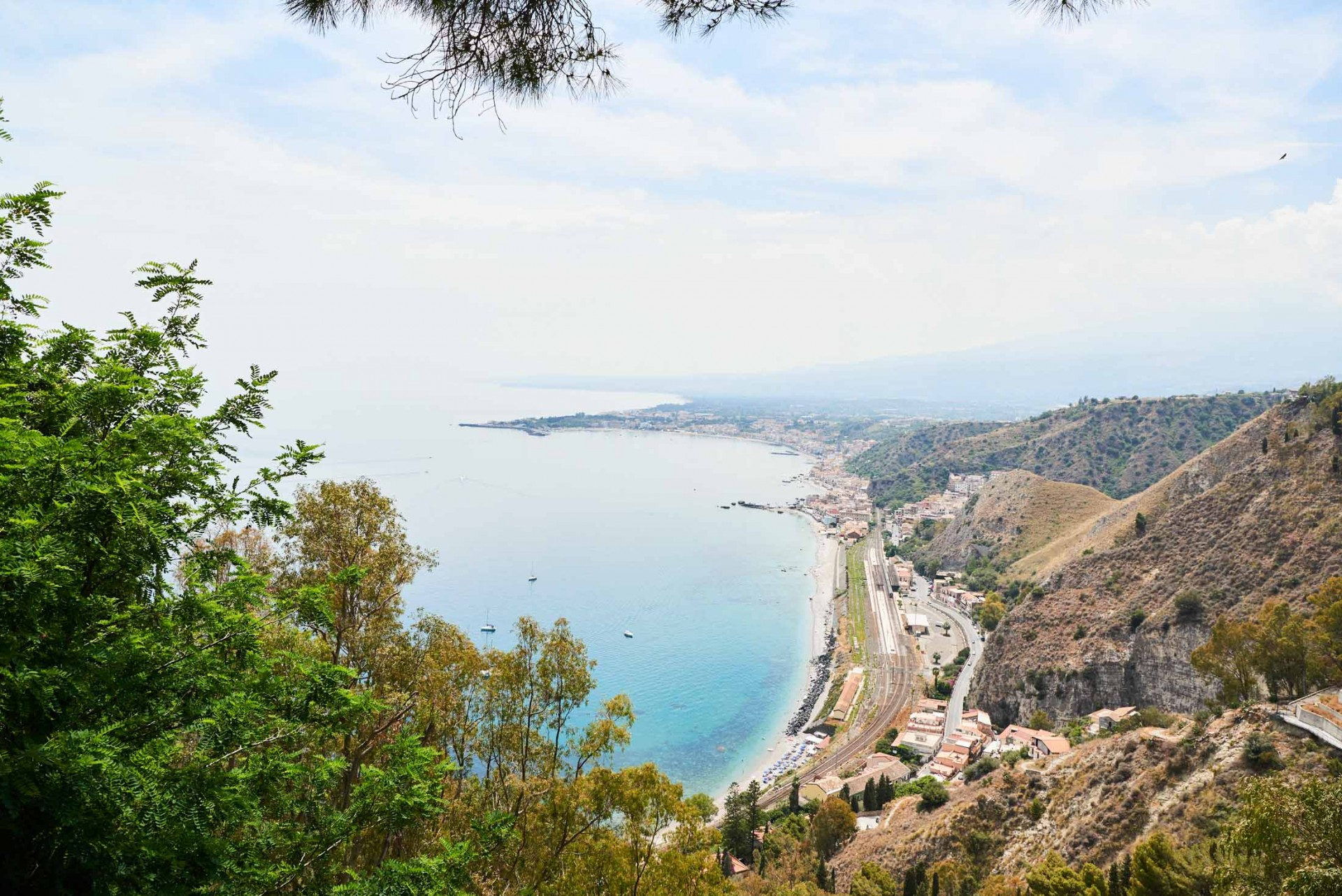 Landscape sea and beach view of Taormina, Sicily in Italy