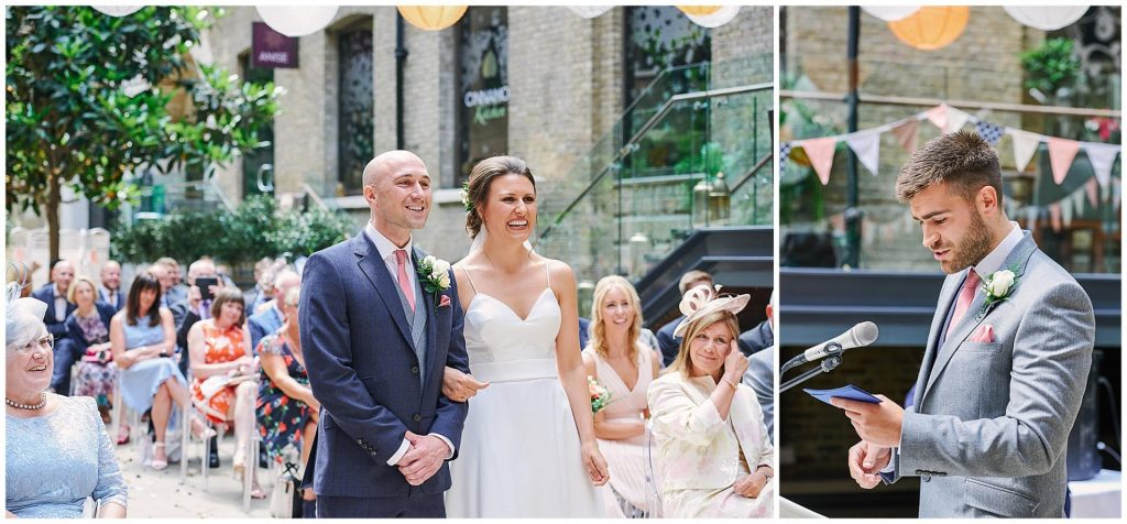 Bride and groom laughing together at  during wedding ceremony at Devonshire Terrace in central London
