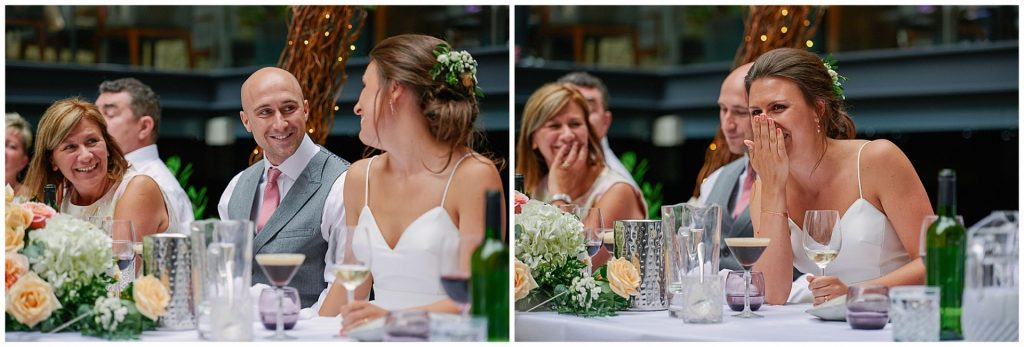 Bride and groom laughing during wedding speeches at Devonshire Terrance in Central London.
