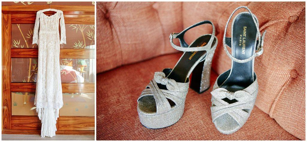 Vintage Wedding dress hung on door and Saint Laurent sparkly heals.