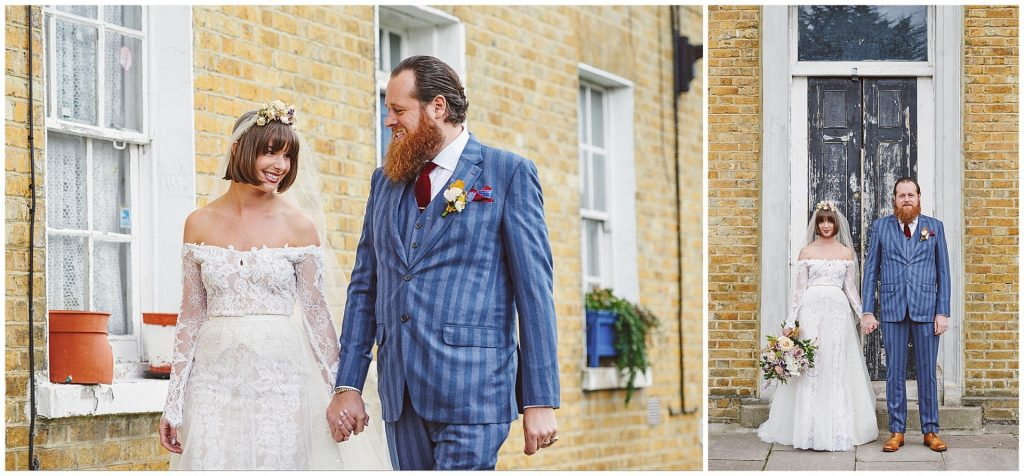 Bride and groom holding hands  whilst walking outside at the Asylum venue in London.