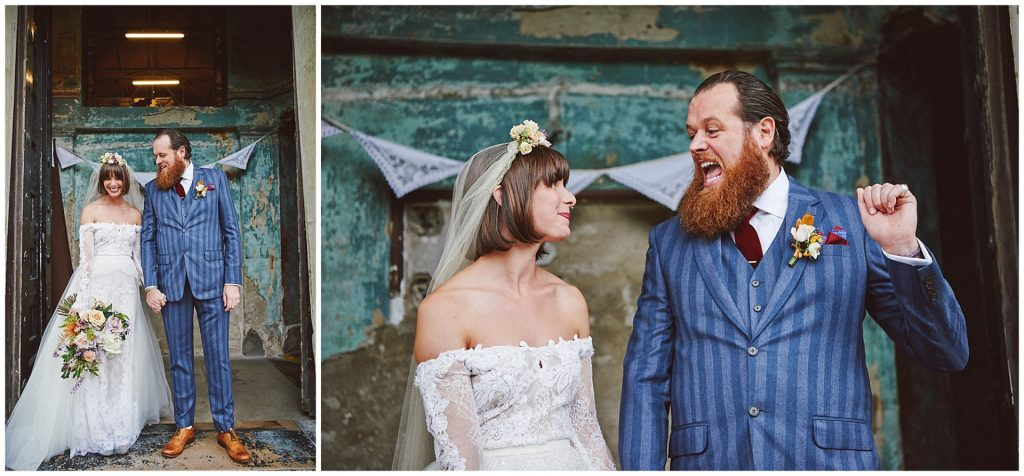 Vintage bride and groom smiling together at the Asylum in Peckham.