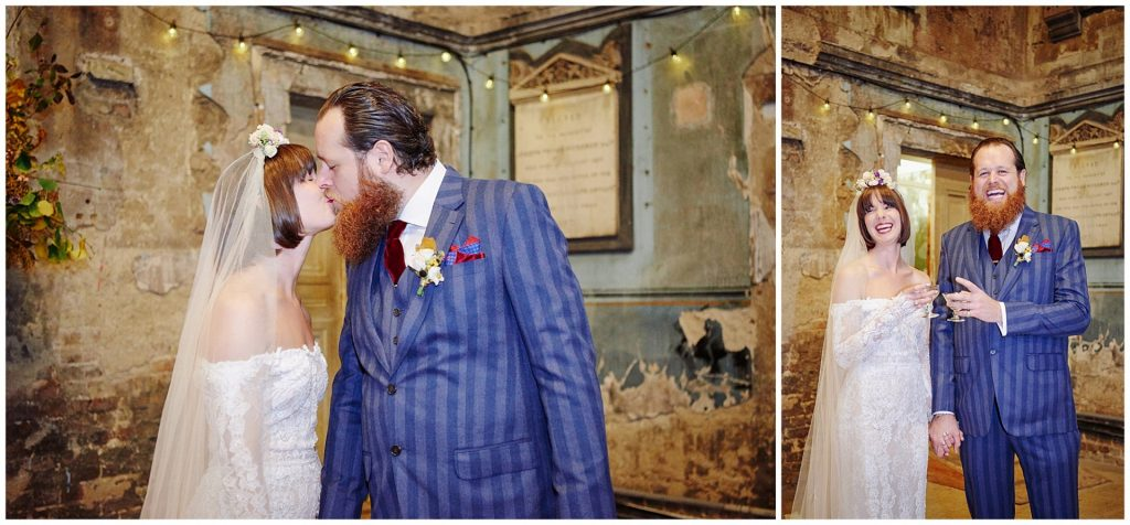 Bride and groom celebrating in a rustic decaying church in Peckham.