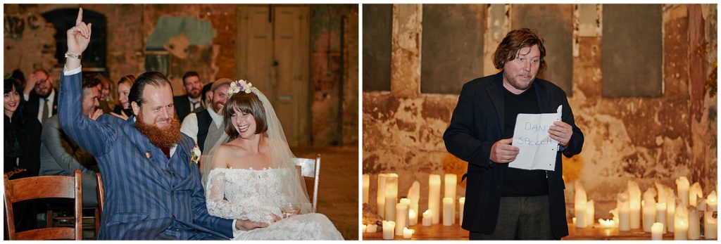 Bride and grrom laughing whilst best man makes a speech in a decaying church venue in Peckham.