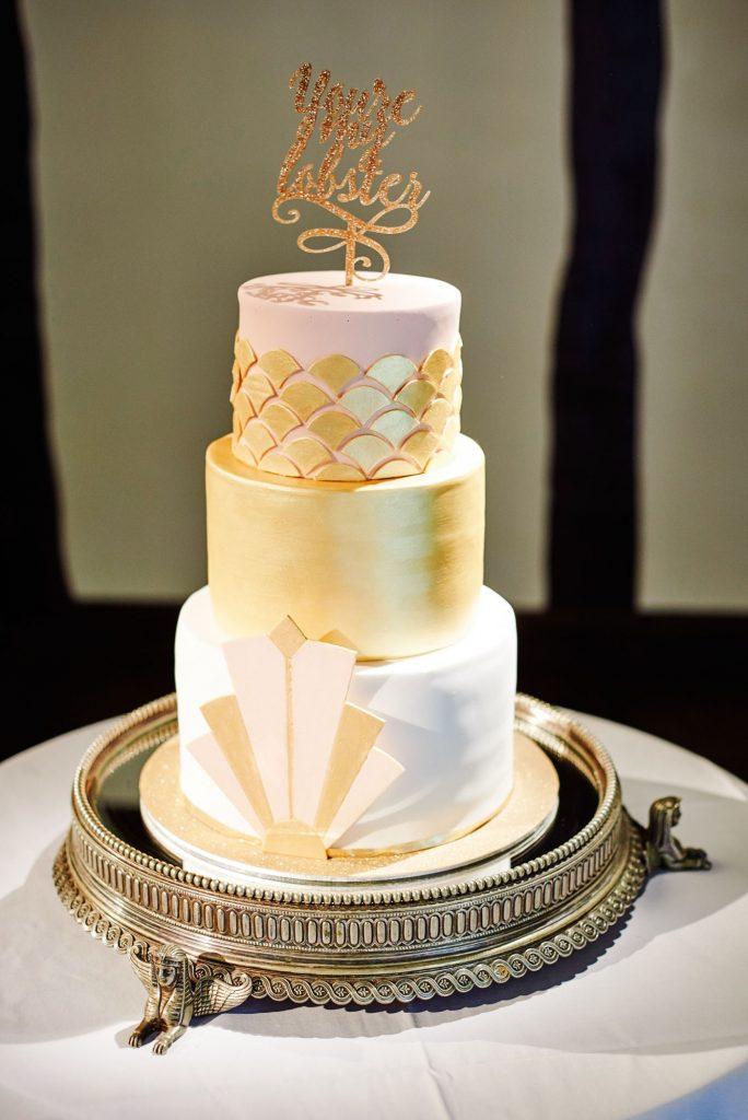 Great Gatsby style art deco 3 tier wedding cake