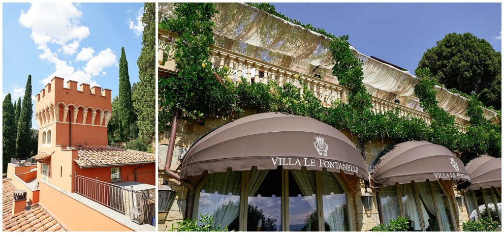 Exterior wall and windows of the Tuscan wedding venue Villa le Fontanelle in Florence, Italy
