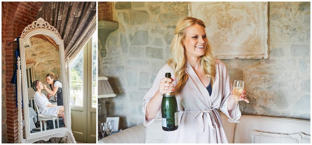 Bride getting ready in mirror and bridesmaid with champgane at Villa le Fontanelle in Florence, Italy