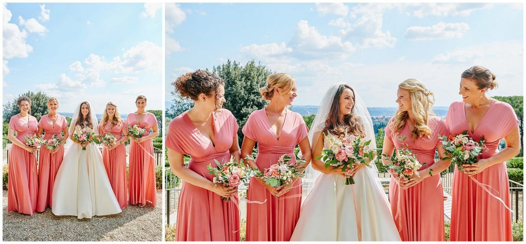 Bride and bridesmaids smiling with flowers at Villa le Fontanelle with a view of Florence, Italy in the background