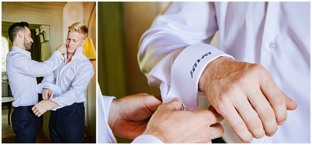 Groom and groomsmen getting ready and putting cuffs on at Villa le Fontanelle in Florence, Italy