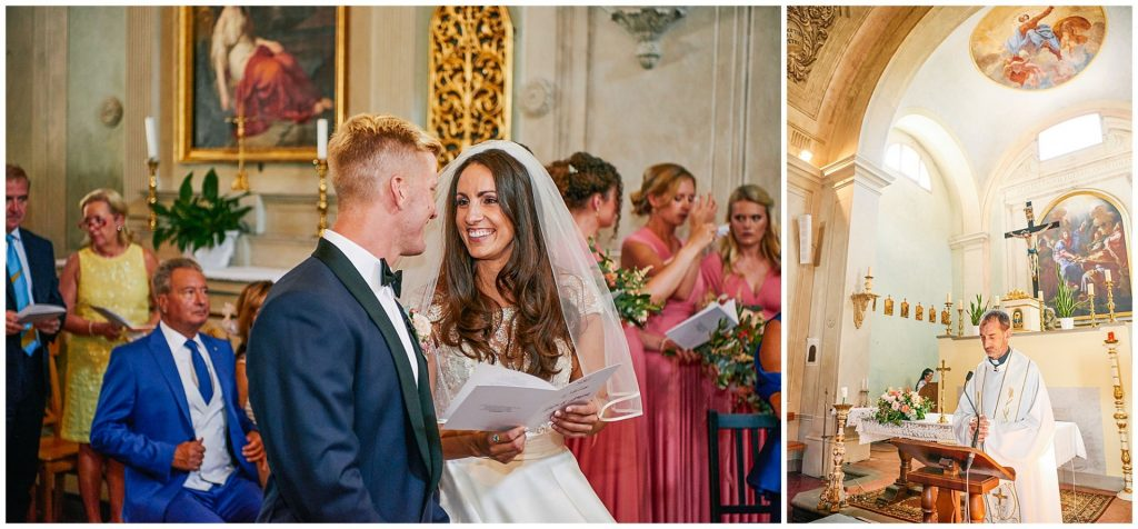 Brides and groom smiling at each other during their Italian destination wedding ceremony
