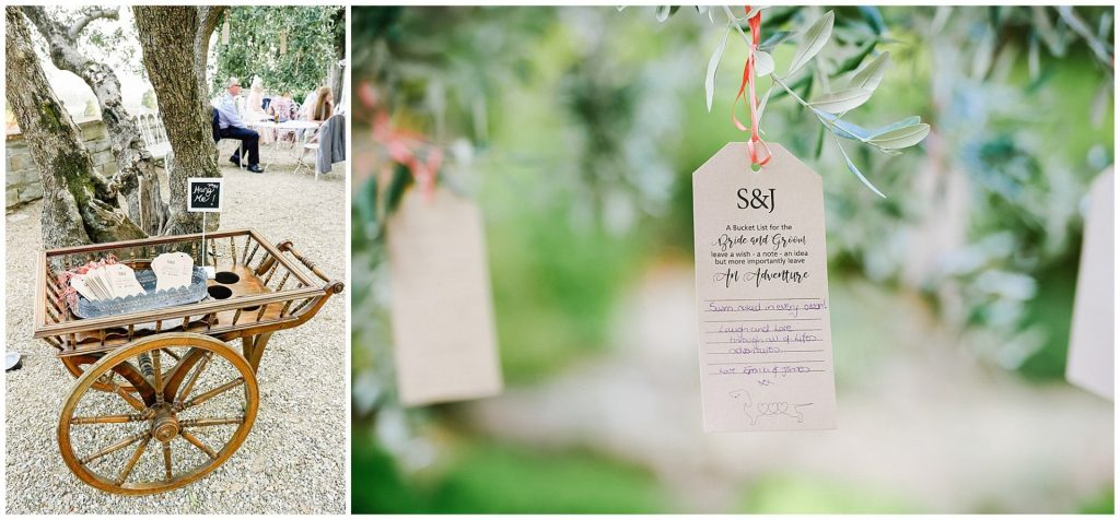 wedding label details to hand on trees at the villa le Fontanelle wedding venue in Florence, Italy