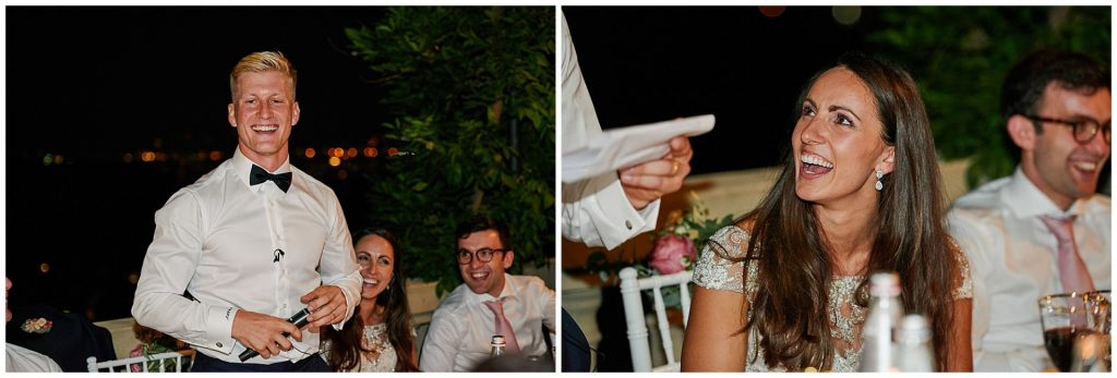 bride and groom laughing during speeches at the Villa le Fontanelle in Florence, Italy.
