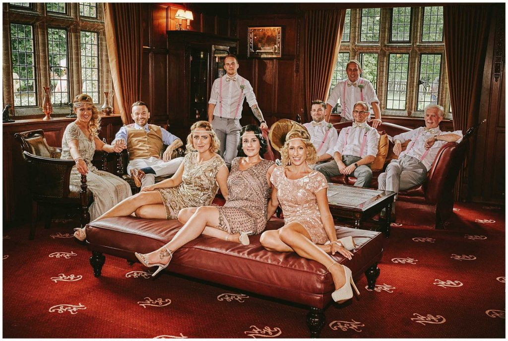 1920's Great Gatsby themed Bridal party in a rooms at Woodhall Manor in Suffolk