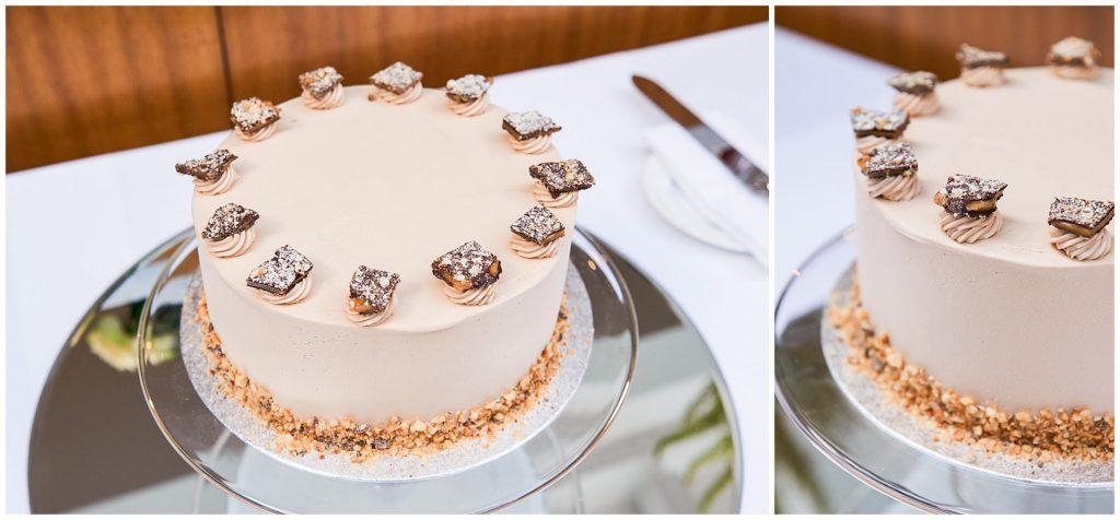 one tier round cream wedding cake with chocolate squares