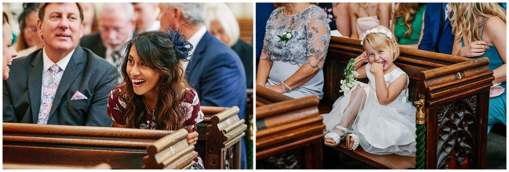 Wedding guests sat inside St Margaret's Church in central London