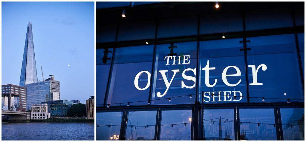 Nighttime exterior of The Oyster Shed riverside wedding venue in London
