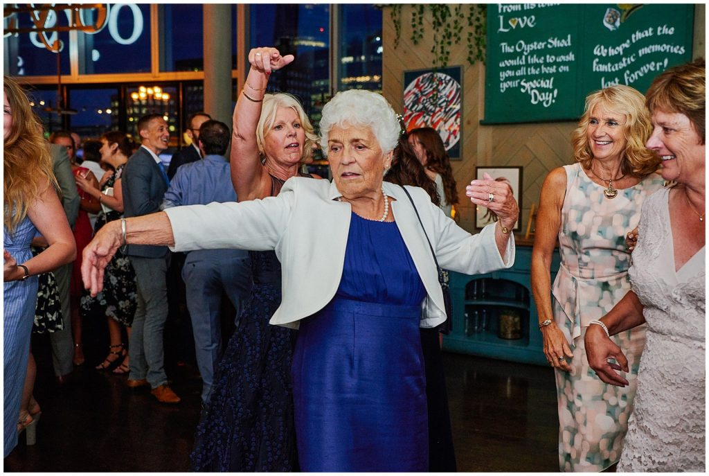 Old lady dancing at The Oyster Shed wedding venue