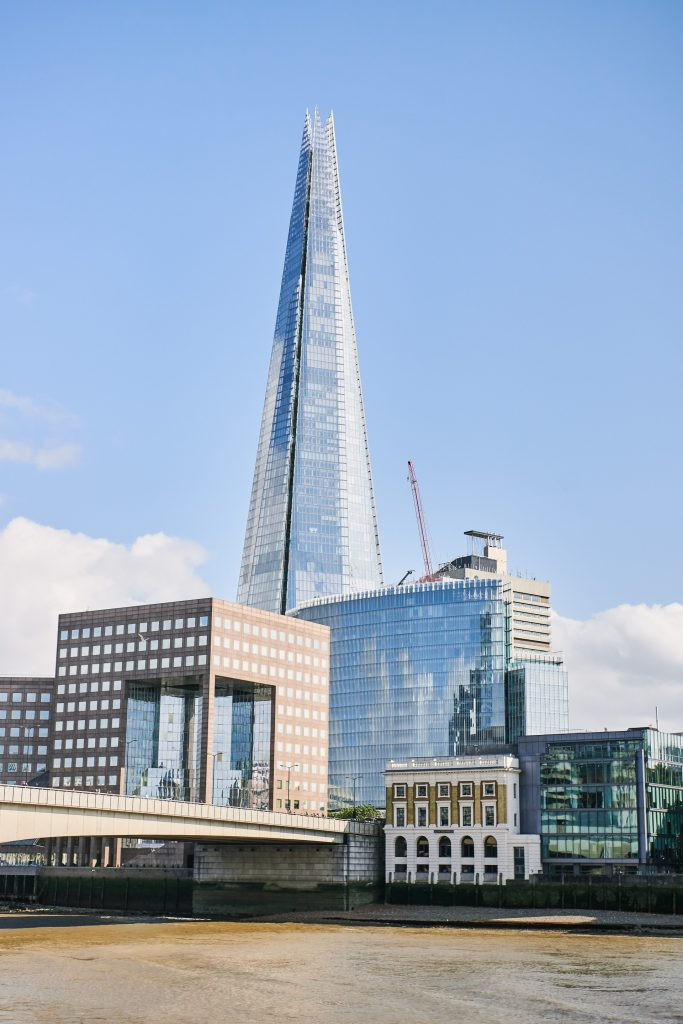 View of the shard taken from the riverside venue The Oyster Shed