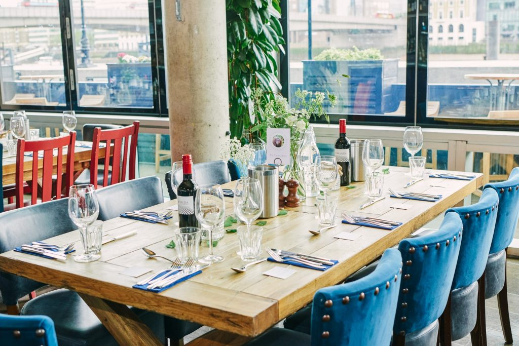 Wedding table set up at The Oyster Shed in Central London