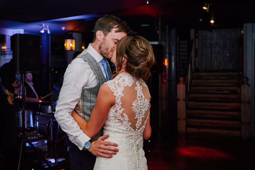 Bride and groom dancing together at The Oyster Shed in London