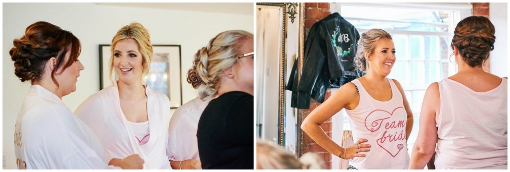 bridesmaids laughing and smiling whilst getting ready at The West Mill Wedding Venue in Derby