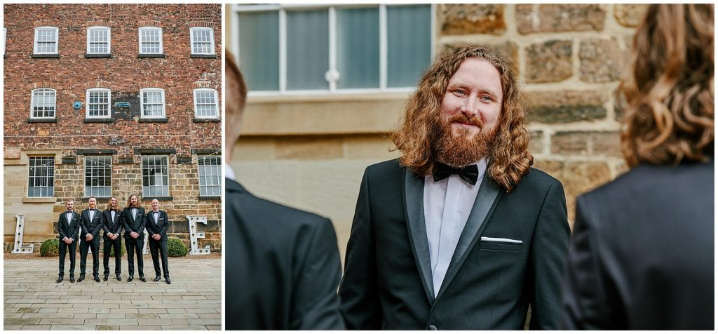 Groom with his groomsmen in front of a brick wall outside the West Mill Wedding Venue in Derby