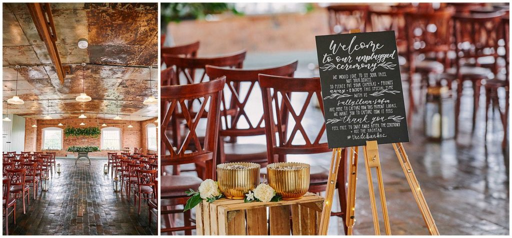 Empty ceremony room with an unplugged wedding sign and industrial looking brick walls and metal ceiling at the West Mill Wedding Venue in Derby