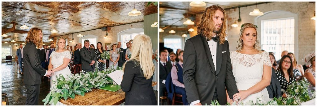 Bride and groom looking nervous in front of their friends and family during their wedding ceremony at the West Mill Venue in Derby