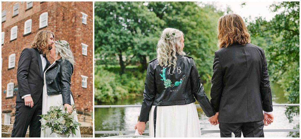 bride and groom holding hands and kissing outside at the West Mill Venue in Derbyshire