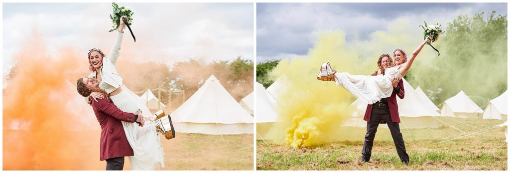 Bride and groom stood in front of tipis and smoke bombs during their festival wedding.