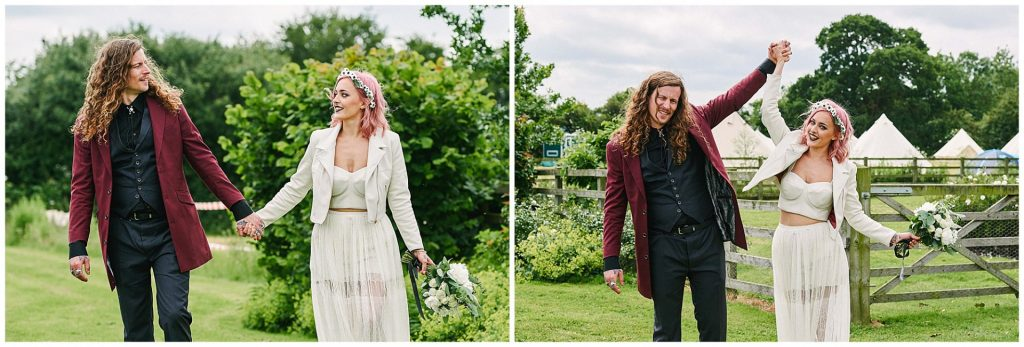 Rock n Roll style Bride and groom walking in front of festival tipis at The Peasantry Brewery