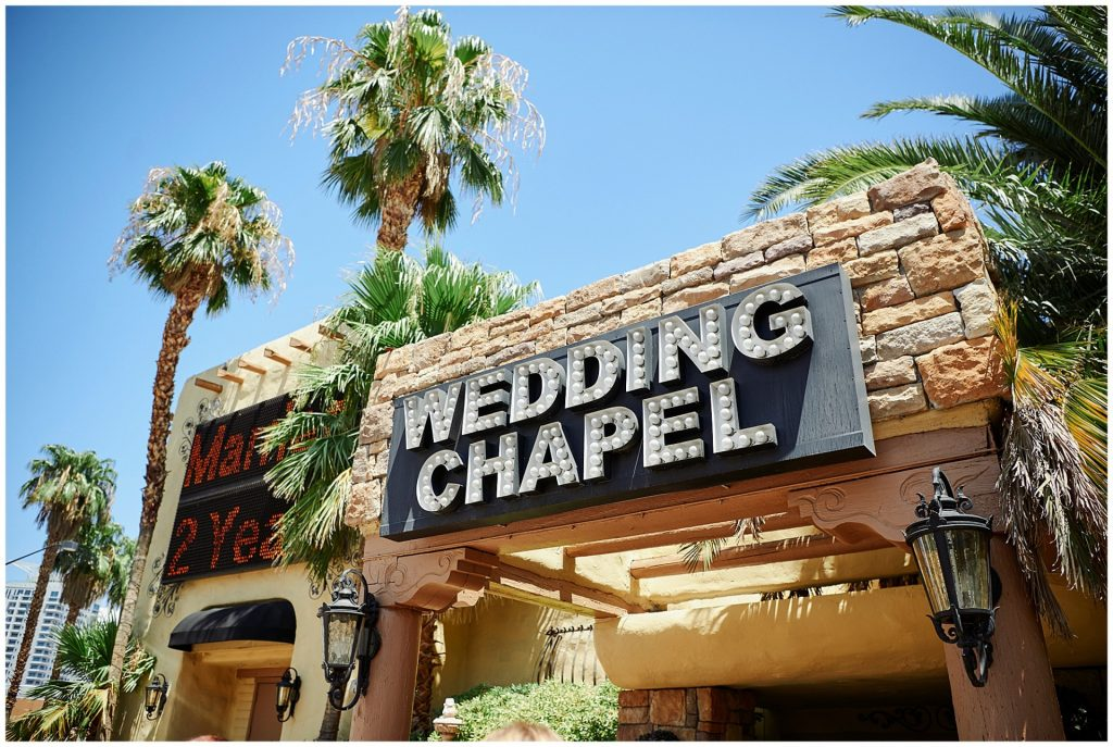 exterior of Las Vegas chapel on a sunny day.