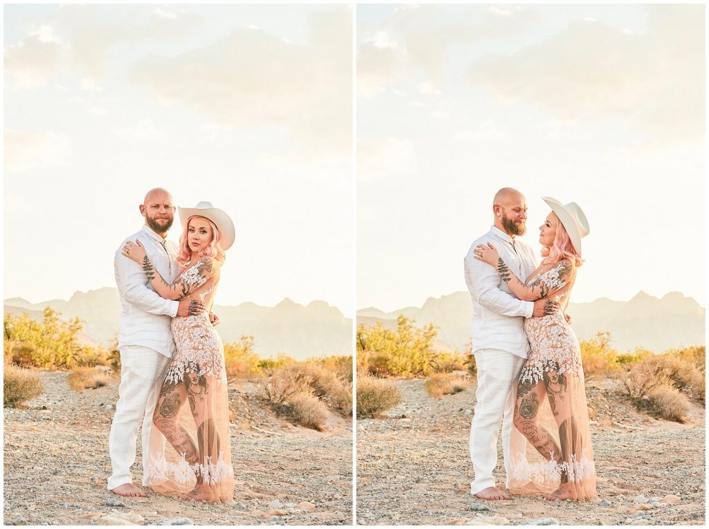 Tattooed bride and groom stood in Las Vegas desert during their rock n roll wedding
