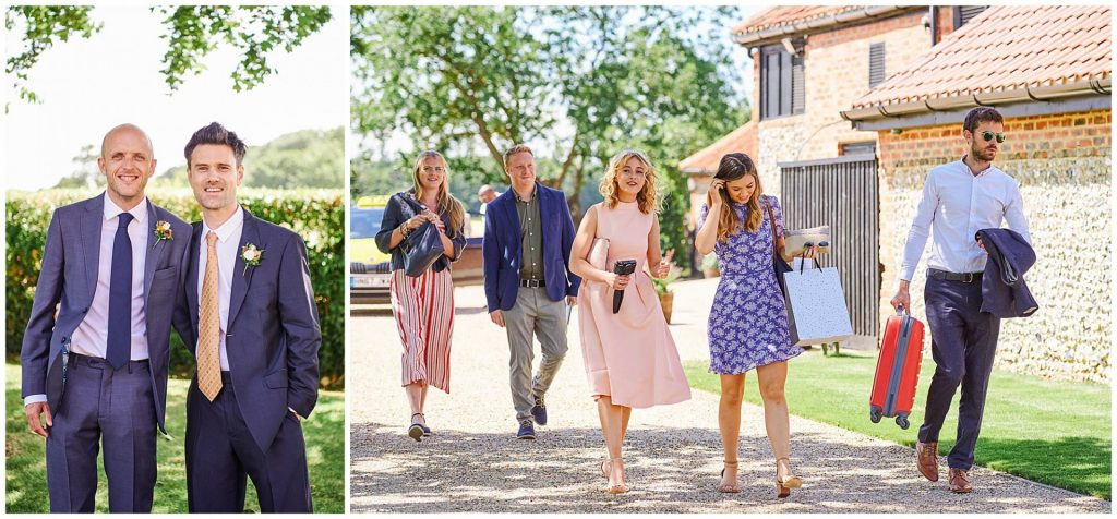Wedding guests and groom arriving on a sunny day at The Granary Estates barn in Cambridge.