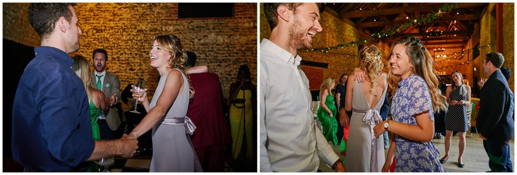 Wedding guests dancing and having fun at the Granary Estates in Cambridge.