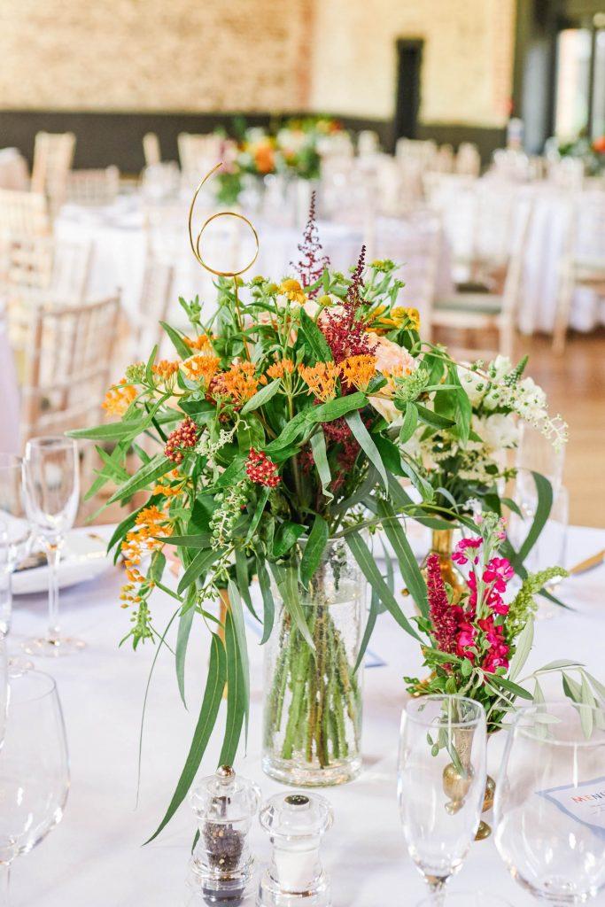 Wedding flowers on white wedding table