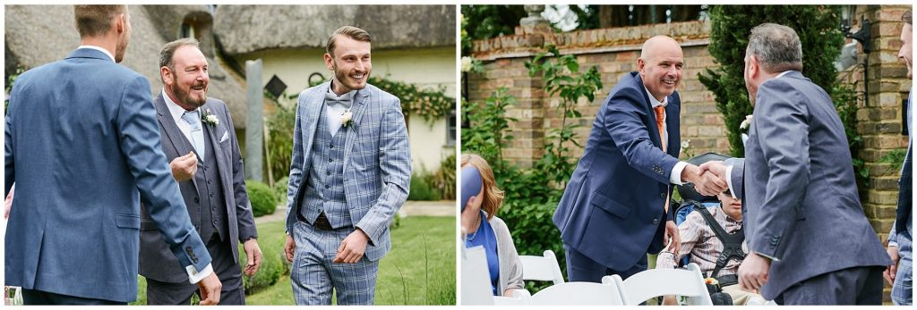 Happy wedding guests during outdoor wedding ceremony at Marleybrook House
