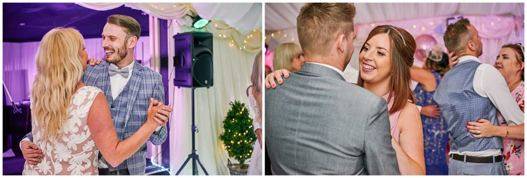 Wedding guests dancing in the marquee at Marleybrook house