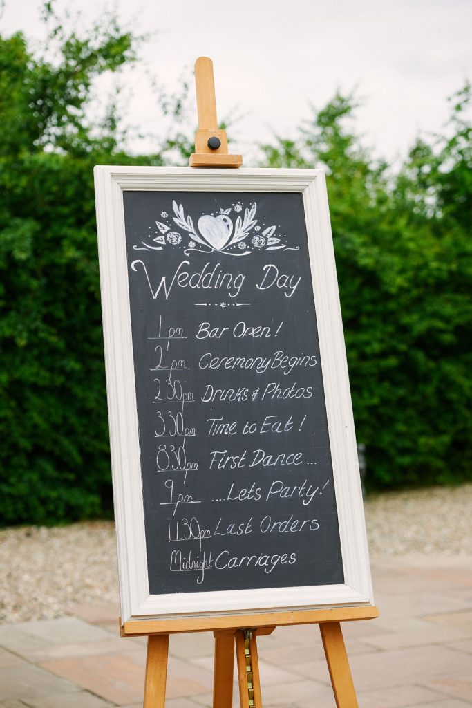 Welcome wedding sign and order of the day at Marleybrook House