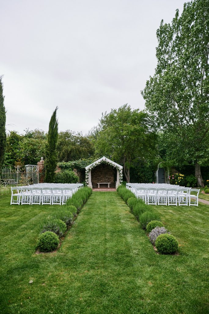 Outdoor wedding ceremony set up at Marleybrook House