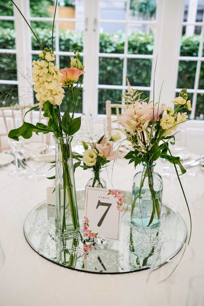 Wedding breakfast table details at Marleybrook house