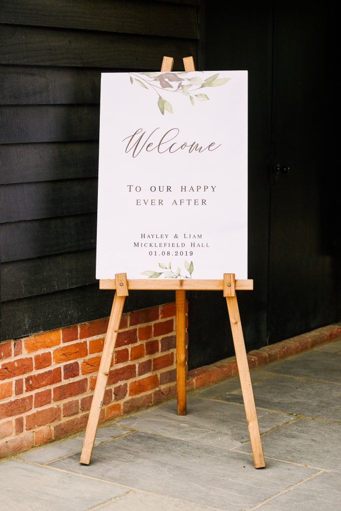 Welcome sign at the entrance of Micklefield Hall Wedding Venue