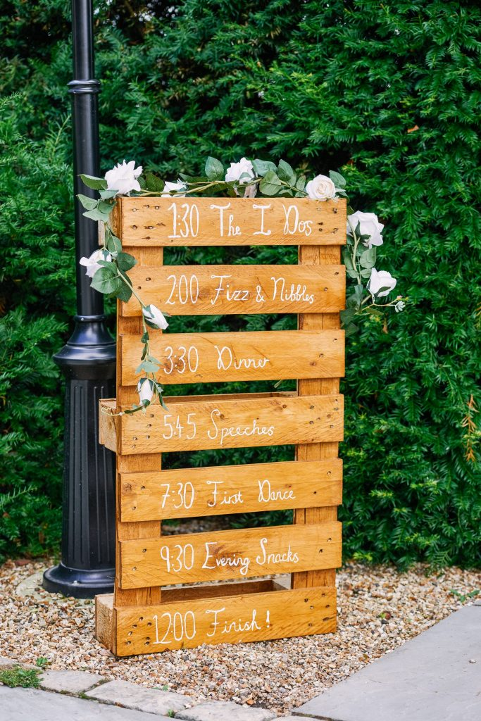 Order of the day on wooden crate at Micklefield Hall Wedding Venue