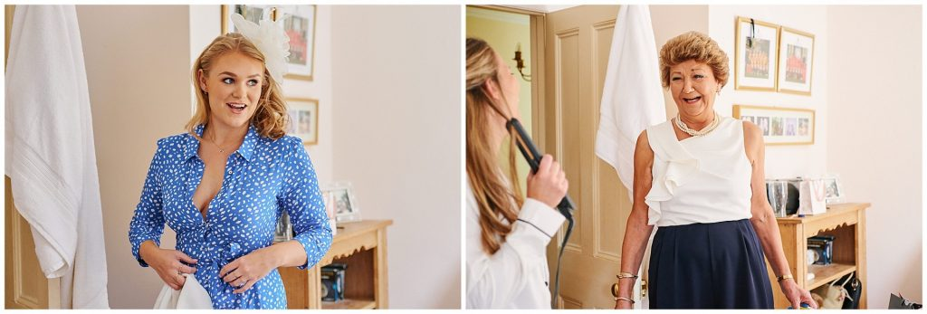 Brides mum and friend laughing during bridal prep