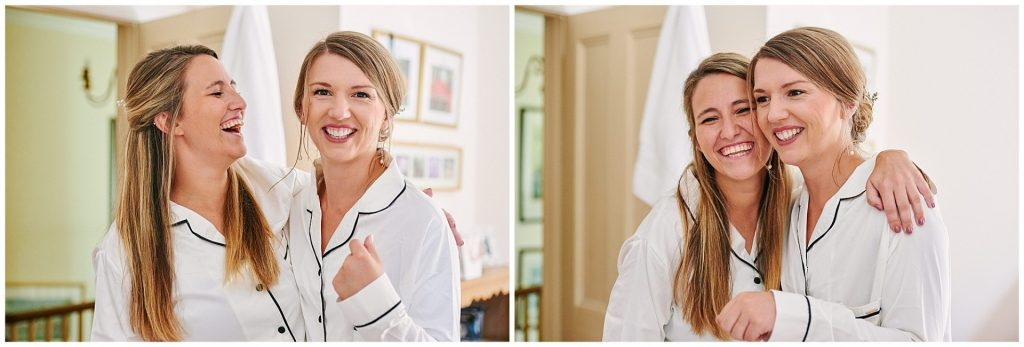 bride laughing with her friend during bridal prep