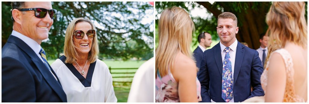 Candid shots of wedding guests laughing outside on a sunny day