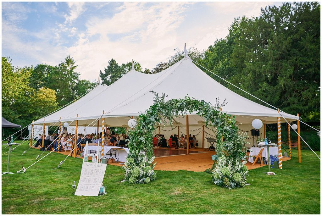 Beautiful marquee festival tent set up during a Pamber Place Wedding