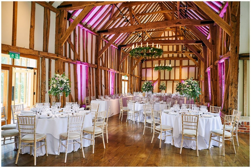 Inside wedding breakfast room at Micklefeild Hall