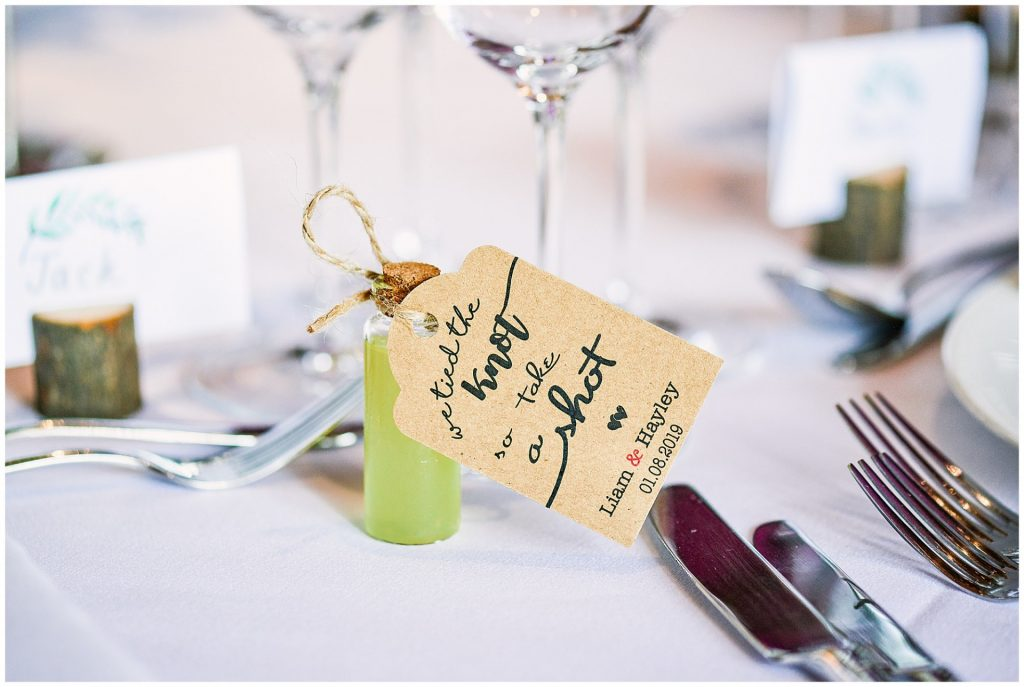 mini alcohol bottle wedding favour  with brown label