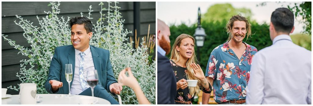 Guests socialising during outdoor summer wedding at Micklefield Hall